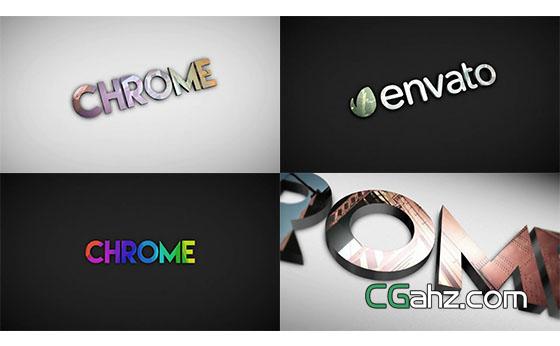 三维立体Logo照片反射片头展示AE模板