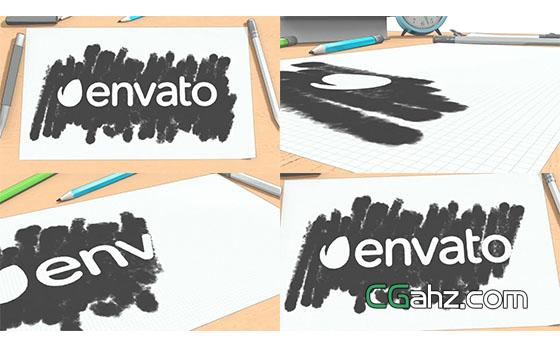 卡通渲染笔刷素描风格Logo文字展示AE模板