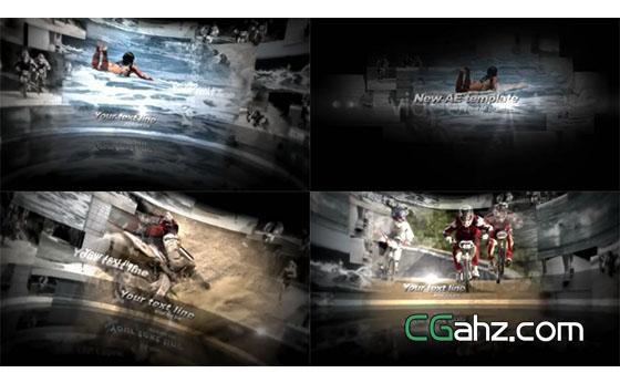 曲形大屏幕视频展示AE模板
