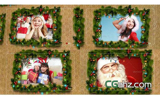 霓虹灯圣诞装饰照片相册展示AE模板