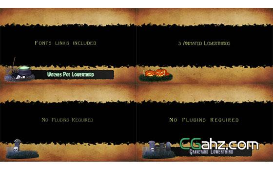 万圣节南瓜坟墓女巫人名字幕条信息展示AE模板