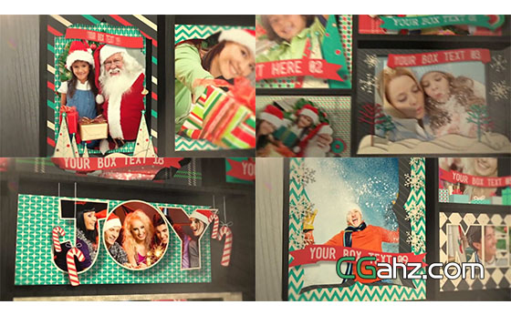 剪纸温馨圣诞节照片相册开场展示AE模板