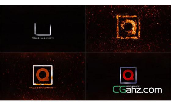 火焰汇聚钢铁游戏Logo文字定格开场展示AE模板