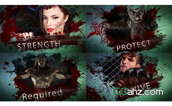 溅血恐怖动作片宣传开场展示AE模板