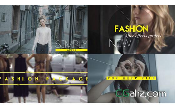 时尚图形分割大字标题栏目包装宣传展示AE模板