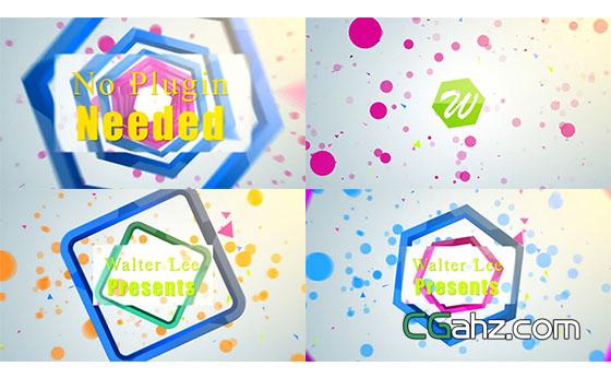 多彩时尚图形变化Logo定格展示AE模板