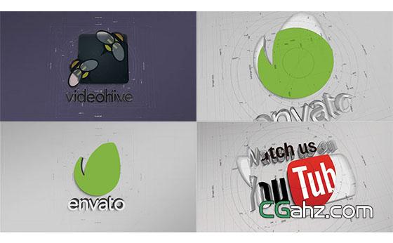 铅笔素描线框工业设计蓝图Logo展示