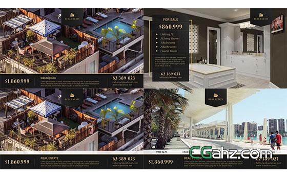 室内装修房地产宣传介绍片头展示AE模板