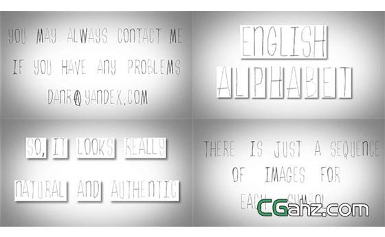 可爱抖动着的铅笔素描英文字母动画AE模板