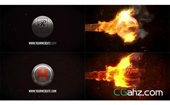 震撼火团燃烧出炽热的标志特效AE模板