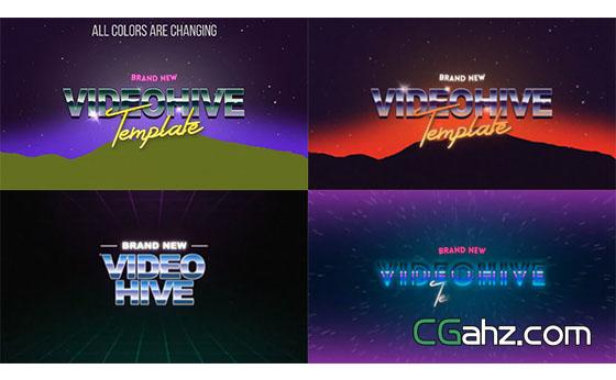 复古录像带游戏文字标题动画开场展示AE模板