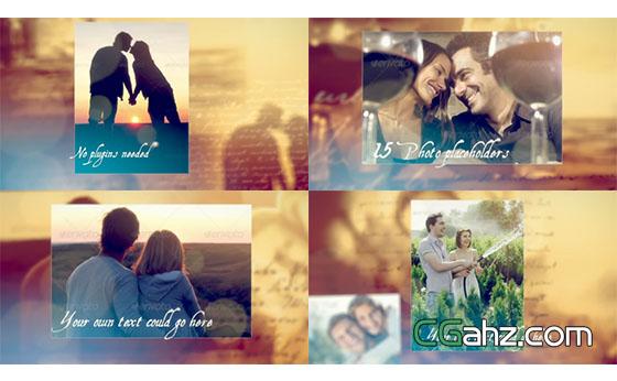 浪漫爱情婚礼文字情书照片展示AE模