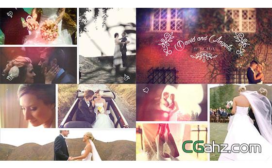 婚礼幻灯片分屏图片视频展示片头展示AE模板