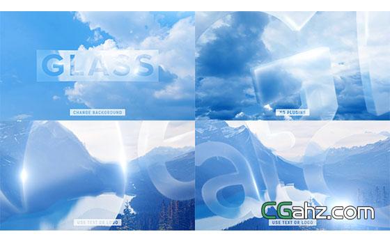 透明玻璃质感文字开场片头展示AE模