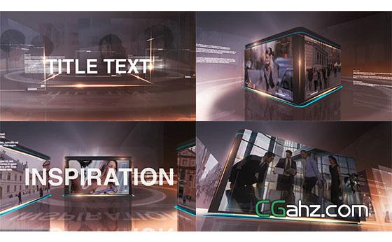 科技感面板图片视频展示开场AE模板