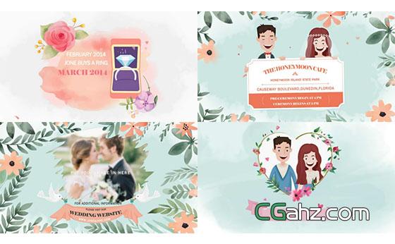 水彩鲜花中清新美好的婚礼视频请柬AE模板