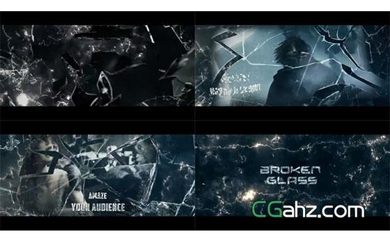 震撼玻璃破碎特效的电影预告片AE模板