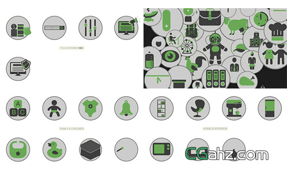 数量多达500余枚的圆形图标小动画AE源文件