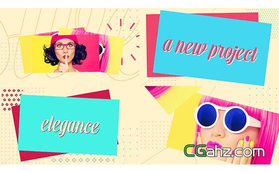 卡通多彩时尚图片展示片头AE模板