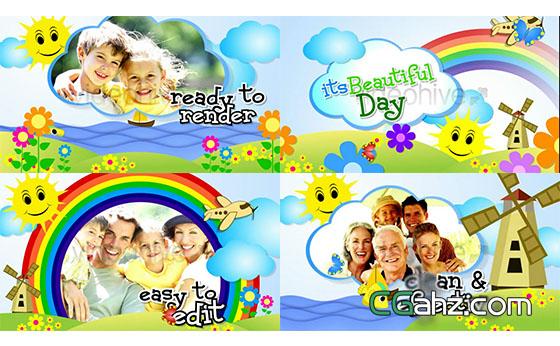 可爱儿童卡通亲子节目开场包装展示AE模板