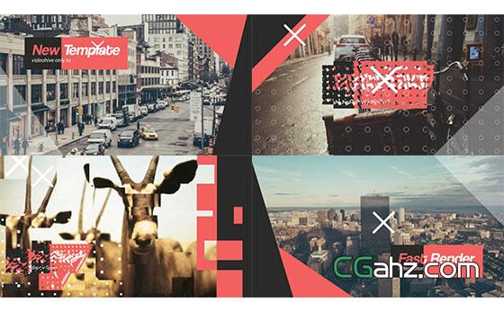 时尚点线元素画面风格图片开场展示AE模板