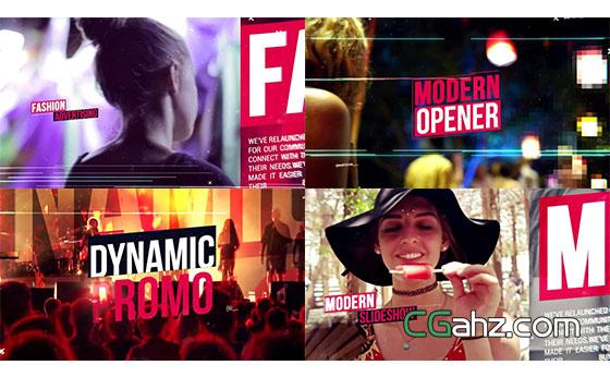 动感时尚音乐会活动现场宣传片头展示AE模板