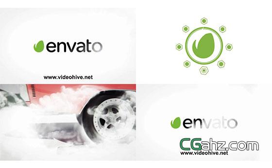 轮胎转动烟雾Logo演绎片头展示AE模