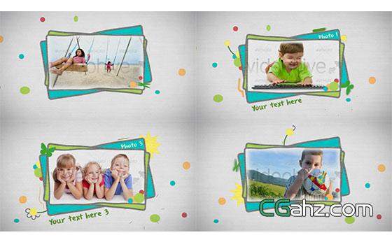卡通儿童可爱小孩粉笔手绘相册展示片头展示AE模板