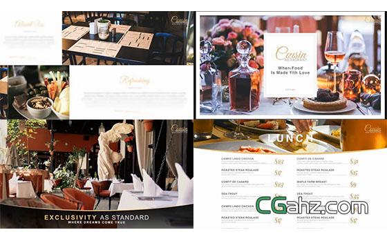 餐厅食物生活美食图片视频介绍片头展示AE模板