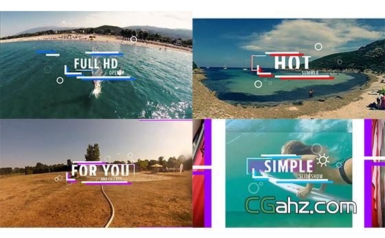 时尚活力夏天假日旅游视频开场展示