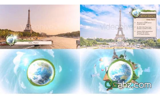 清新风旅游、旅行栏目的整体包装AE模板