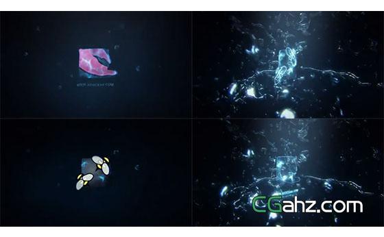 震撼水花爆破飞溅的标志特效开场AE模板