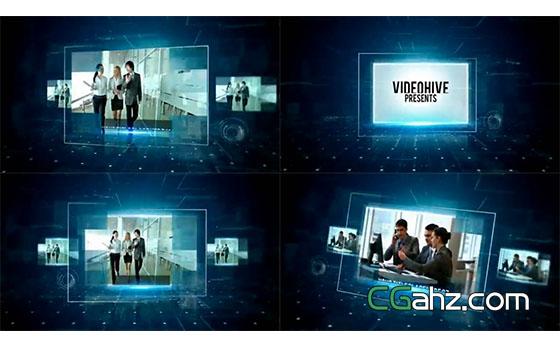 全息網格空間中的科技公司宣傳介紹AE模板