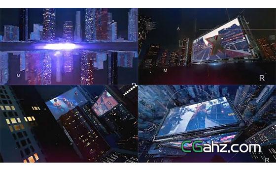 城市建筑群中震撼大气的大屏幕内容展示片头AE模板