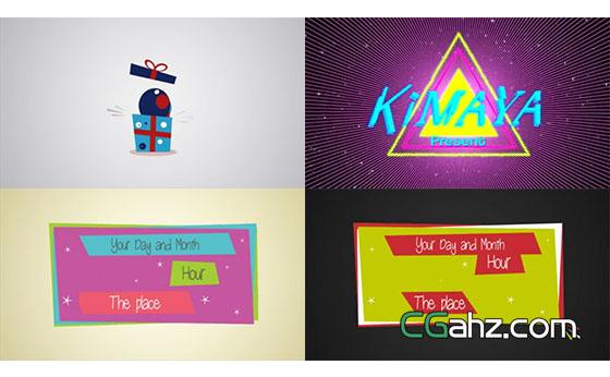 可爱卡通风格的生日邀请卡动画AE模板
