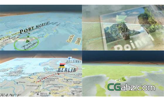 地图上路线、路径动画的制作AE模板