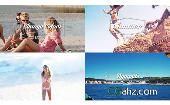 小清新夏天旅游视频记录展示片头AE模板