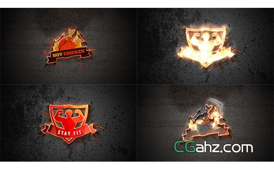 火焰描边炽热钢铁Logo展示AE模板