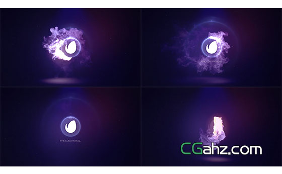火焰烟雾环形旋转Logo展示片头AE模板