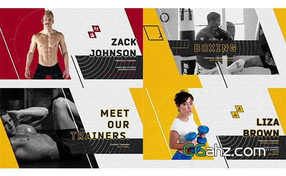 体育健身栏目包装宣传片介绍片头展示AE模板