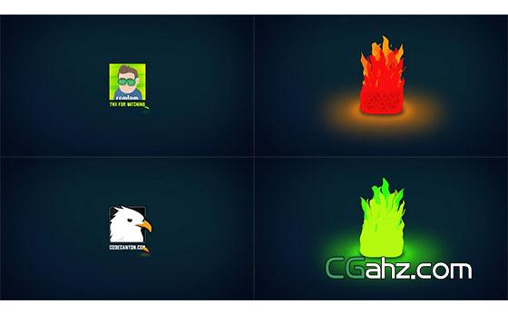 卡通火焰Logo燃烧Logo展示片头AE模板