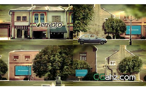 卡通纸张街道城市生活开场片头展示AE模板