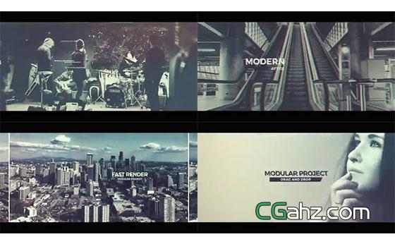 带有毛刺故障特效的现代城市宣传片