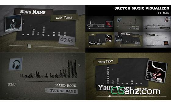 可視化音頻譜線/音樂播放器AE模板