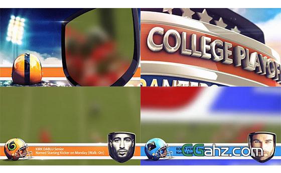 橄榄球体育赛事栏目包装宣传展示AE模板