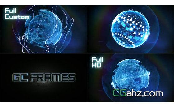 未来科技拼接闪烁三维粒子旋转AE模板