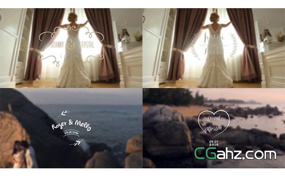 创意优雅婚礼白色动态花纹AE模板