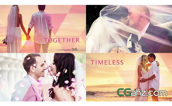 光斑三角形拼贴婚礼视频相册AE模板