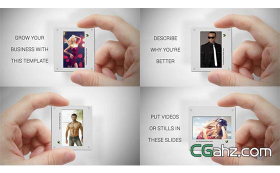 创意趣味手势结合捉住相片摇摆切换电子相册AE模板