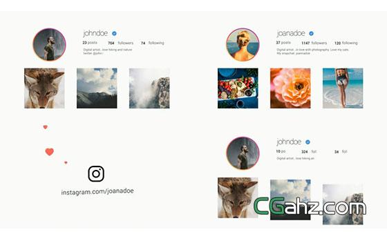 社交平台的个人主页推广小片AE模板